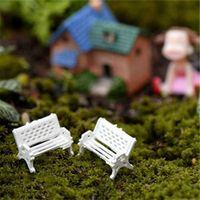Wholesale home garden accessories resale online - 1Pcs White park bench seat micro landscape chair decor crafts home decor DIY miniature fairy garden ornaments ecological bottle accessories