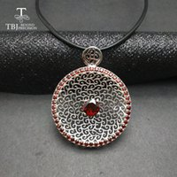 Wholesale red garnet gemstone resale online - TBJ New big natural garnet gemstone pendants in sterling silver jewelry special elegant gemstone pendant for women as gift