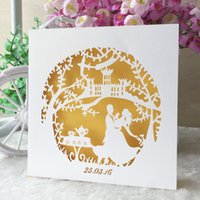 Wholesale yellow chinese wedding dress online - 100Pcs Prince And Princess Wedding Invitation Cards Hollow Sculpture Envelope Engagements Birthday Party Fancy Dress Ceremony Supplies
