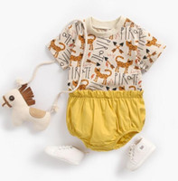 Wholesale two piece summer boys clothes resale online - INS New Baby kids Clothing Two Piece Sets Short Sleeve Full Animal Shirt Short Boy Girl Summer Lolita Summer Clothing Sets