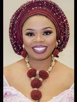 marfim pérola bridal jóias conjuntos venda por atacado-Moda vinho de Borgonha Mulheres Africano nigeriano jóia casamento conjuntos Wine Semente Declaração Bead Pendant Colar Jogo de noiva 2018 WE134