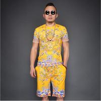 белые футболки фарфор оптовых-Большой размер Китайская династия Цин Royal Dragon Manchu Одежда для мужчин Летняя футболка с коротким рукавом + брюки Желтые белые красные короткие костюмы Tang