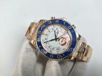 relógios de ouro branco venda por atacado-Relógio de pulso dos homens de ouro 44 mm azul cerâmica moldura mostrador branco aço inoxidável de luxo de alta qualidade Mens Watch