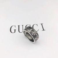 plata de ley única al por mayor-Vintage 925 plata esterlina gg anillos 3D negro lobo único anillo animal para hombre mujer Biker Punk joyería amante de la marca regalo de lujo