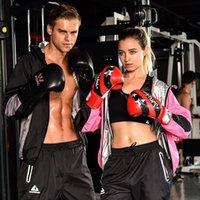 ağır bayanlar toptan satış-Kadınlar Erkekler Ağır Hizmet Ağırlık Kayıp Gym Spor Kapüşonlular Fermuar Coat + pantolon iki adet Terleme Sauna Suit Koşu Spor Giyim