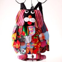ingrosso borse di moda cinesi-Zaini etnici cinesi carattere a mano in cotone cane zaini bambini borse a tracolla bambini moda cane scuola borse CCA11825 100 pz