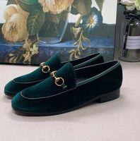 Wholesale velvet loafers men for sale - Group buy Jordaan loafers velvet woman and man dress shoes leather Horsebit black velvet casual shoes