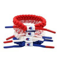 Wholesale china blue accessories for sale - Group buy Unisex Champions Letter Shoelace Wristband Bracelet Nylon Sneakers Jewelry Braided Bracelets Street Fashion Accessories White Blue C41206