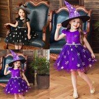 off ombro bebê vestidos de festa venda por atacado-2pcs bebés roupa de Halloween Kids Party Estrela Hat Alças Patchwork vestido de renda Witch Hat Verão Outfit