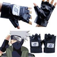 kostüm deri eldivenleri toptan satış-Cosplay Anime Unisex Hediye Naruto Kakashi Hatake Eldiven Itachi Sasuke Cadılar Bayramı Partisi Prop Pu Deri Kostüm