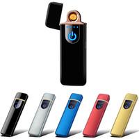 elektronik şarj edilebilir alevsiz çakmak toptan satış-Moda USB Şarj Edilebilir Rüzgar Geçirmez Elektronik Çakmak Alevsiz Dokunmatik Ekran Anahtarı Taşınabilir Yaratıcı Çakmak En Iyi Hediye