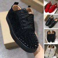botines de pinchos con tachuelas al por mayor-2020 diseño de lujo tachonado zapatos del punto rojo de la vendimia blanca Triple Negro tobillo de la manera botas de cuero genuino informal zapato plano inferior zapatilla de deporte