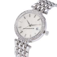 china gold uhren diamanten groihandel-MK 3AA + Frauen Luxus China Armbanduhr Quarz-Batterie Designer Damen wasserdichtes Kleid Diamant Edelstahl Gold Silber T / T Uhren