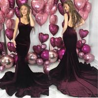 Wholesale maternity dresses for prom resale online - Grape Backless Mermaid Prom Dresses Spaghetti Straps Velvet Plus Size Cheap Evening Gowns For Celebrity Dress