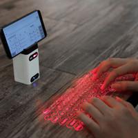 dizüstü lazer toptan satış-Fare fonksiyonu ile bilgisayar Telefon ped Laptop Taşınabilir Bluetooth sanal lazer klavye Kablosuz Projeksiyon mini klavye