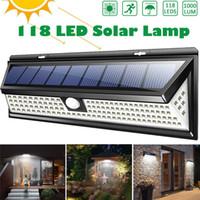 lampara de piscina led 12v al por mayor-118 LED 1000LM Impermeable PIR Sensor de movimiento Solar Jardín Luz Exterior LED Lámpara solar 3 modos Seguridad Puerta de la piscina Iluminación solar