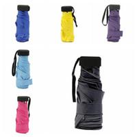 Wholesale mini umbrella colors resale online - 6 Colors Mini Pocket Umbrella Windproof Folding Compact Waterproof Sun Rain Umbrella Capsule Pocket Light Umbrellas CCA10998