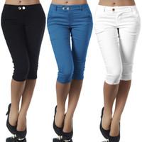 geschnittene leinengamaschen großhandel-Plus Size Casual 3/4 Länge Skinny Pants Damen Cropped Stretch Leggings Hosen Pencil Capris Elastische Baumwolle Capri Pant MX190716