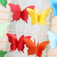 Wholesale red hanging flowers for sale - Shop Mall Window Hanging Ornament Pull Flower Paper String Colorful Butterfly Paper Children Room Wedding Decorate Birthday Party yjC1