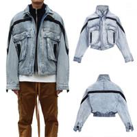 jaqueta de moda de rua venda por atacado-19FW FOG 6TH Denim Jacket MEDO DE DEUS Bolso listrado Azul Moda Solto Casual Casaco de Rua Das Mulheres Dos Homens Lavar Jaqueta Outwear LJJA2860