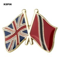 Wholesale uk brooch resale online - UK Trinidad Tobago friendship Flag Lapel Pin Flag Badge Lapel Pins Badges Brooch XY0495