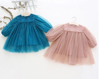 Wholesale fall tutu kids for sale - Group buy Girl Kids Clothing Dress Round Collar Embroidery Flowers Tutu Dress girl Spring Fall Long Sleeve Clothing Dress