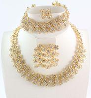 anillos de coral para mujer al por mayor-Sistemas de la joyería de moda de las mujeres del cristal plateado del oro de novia joyería fija el anillo del pendiente del collar de la pulsera de la aleación