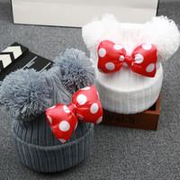 Wholesale white crochet cap resale online - Cute Dot Cartoon Big Bow Baby Girl Cap Hat Kids Knit Cotton Beanie Autumn Winter Warm Girls Double Pompom Hats