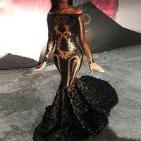 payet tekne boynu toptan satış-Lüks Pırıltılı Seksi Gelinlik Modelleri 2019 için Parti Şeffaf Uzun Kollu Denizkızı Tekne Boyun Altın Pullu Afrika Siyah Uzun 3D çiçekler Akşam Elbise
