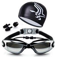 burun gözlüğü toptan satış-4 Takım Yüksek Çözünürlüklü Su Geçirmez Anti-sis Yüzme Gözlüğü Erkek Kadın Büyük Kutu Gözlük Yüzme Kap + Kulaklıklar Burun Klibi Suit