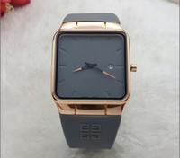 relojes de marca valentine al por mayor-Nuevos relojes de lujo para hombre de la marca de moda ultra-delgada reloj cuadrado para hombres banda de silicona relojes de pulsera de cuarzo reloj masculino de san valentín