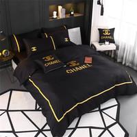 ingrosso coperta gialla bianca-4 colori nuovi set di biancheria da letto nera con ricamo filo d'oro 4 pezzi copriletto copriletto Boutique All Cotton Summer Spring Bedding Suit