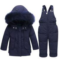 Wholesale baby warmer suit resale online - Winter Warm Baby Boy s clothing Set baby girl Snowsuit Ski suit Children Down Jacket Outerwear Coat suspender trousers