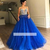 Wholesale ruffle sleeves top dresses online - Royal Blue Sweet Quinceanera Prom Dresses Beadings Rhinestones Top Spaghetti Straps Women Occasion Formal Gowns Evening Dress BC1613