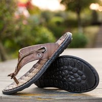 высокие шлепанцы для пляжа оптовых-2019 new Men Flip Flops High Quality Beach Leather  Sandals Non-slide Male Slippers Zapatos Hombre Casual Shoes men p4