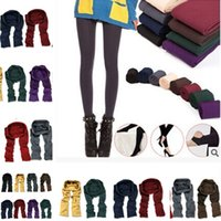 Wholesale womens fitness clothing for sale - Womens Girls Warm Knitted Cable Leggings Solid Stretchy Fitness Over Heels Pantynose Spring Autumn Pants Slim Leg home clothing T1I1107