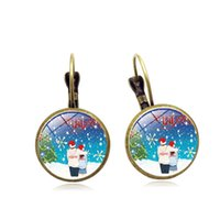 Wholesale resin wedding personalized resale online - 2019 new hot Christmas cat snowman time gemstone earrings ear hook Europe and the United States personalized jewelry