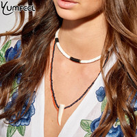 Wholesale handmade clay bead necklace for sale - Group buy Yumfeel Brand New Fashion Jewelry Necklace Handmade Polymer Clay Choker Necklace Seed Bead Horn Pendant Multi Layered