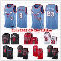 camisa de basquete azul 23 venda por atacado-Cheap Zach 8 Lavine ChicagoTouros Jersey # 23 Michael MJ Coby 0 White Lauri 24 Markkanen 2019/20 Cidade Blue Edition Basketball Jerseys
