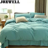 ingrosso lenzuola colorate-Junwell 100% cotone mussola plaid tinto in filo set biancheria da letto trapunta copripiumino lenzuolo federa regina doppia 3 pz