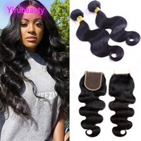 Wholesale 7a human hair closure for sale - Group buy Indian Virgin Human Hair A inch Bundles With Baby Hair X4 Lace Closure Body Wave Indian Hair Extensions Wefts With Closure