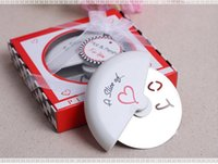 Wholesale pizza cutter wedding gifts for sale - Group buy quot A Slice of Love quot Stainless Steel Pizza Cutter in Miniature Pizza Box Wedding Gifts Favors WB978