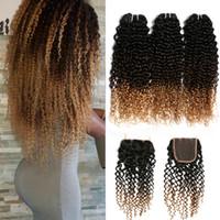 tejido afro 1b al por mayor-Ombre Cabello humano Cierre de encaje con 3 paquetes Afro Kinky Curly Blonde Extensiones Barato 1B / 4/27 Virgen de Malasia rizada Ombre teje