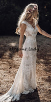 Wholesale satin champagne wedding dress resale online - Vintage Bohemian Wedding Dresses with Sleeves Hppie Crochet Cotton Lace Boho Country mermaid Bridal Wedding Gown
