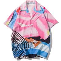 camisa ajustada rosa para hombre al por mayor-Gráficos abstractos para hombre Camisas Regular Fit Manga corta Rosa Casual Streetwear Camisetas con estampado de colores Verano Hip Hop Camisa