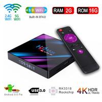 tv-boxen großhandel-Für Glück Üçer Italien !! 1pcs Android 9.0 H96 Max RK3318 TV Box 2.4G 5G Dual-2G 16G 4K HDR Mini Box