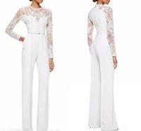 özel pantolon bayan giysileri toptan satış-2019 Custom Made Yeni Beyaz Anne Gelin Pant Suits Ile Tulum Uzun Kollu Dantel Süslenmiş Kadınlar Örgün Akşam giymek
