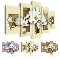 Wholesale texture abstract panel paintings for sale - HD No Frame Set Art Texture and Magnolia Flowers Art Print Frameless Canvas Painting Wall Picture Home Poster Decoration Pictures