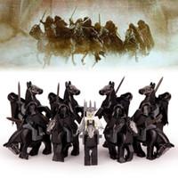 desenhos animados do bloco do loz venda por atacado-18 pçs / lote O Senhor dos Anéis Nove Nazgull com Cavalo Rei Bruxo de Servos de Angmar Sauron Blocos de Construção de Brinquedos para Crianças Presente