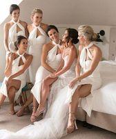 Wholesale tea dresses bridesmaids resale online - 2020 pure white halter neck sheath Bridesmaid Dresses ruched Chiffon tea Length boho Wedding Guest Dresses sey split maid of honor gowns